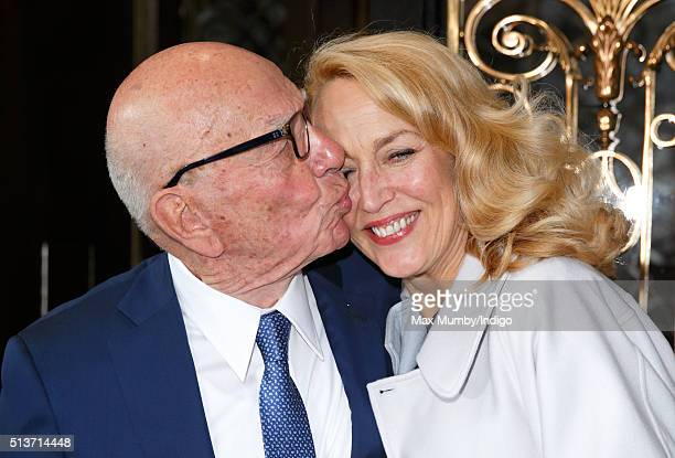 Rupert Murdoch kisses his new wife Jerry Hall as they leave Scott's restaurant following their marriage at Spencer House on March 4, 2016 in London,...