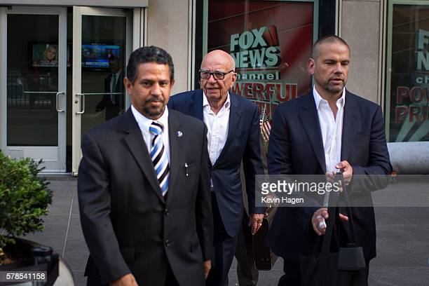 Rupert Murdoch leaves the News Corporation building with his son Lachlan Murdoch on July 21 2016 in New York City Rupert Murdoch is taking over as...