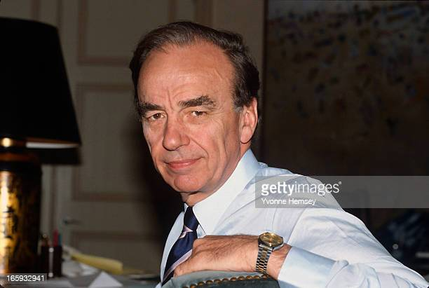 Rupert Murdoch poses for a photograph at his office at the New York Post May 10 1985 in New York City