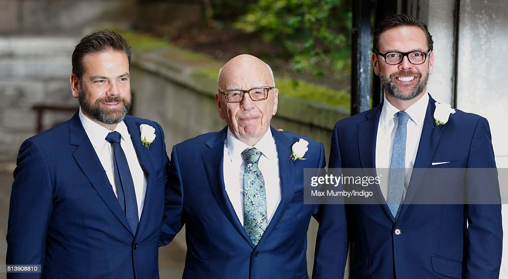 Rupert Murdoch with his sons Lachlan Murdoch (L) and James Murdoch (R) arrives at St Bride's Church for a service to celebrate his marriage to Jerry Hall on March 5, 2016 in London, England.