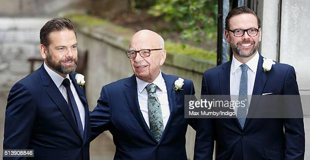 Rupert Murdoch with his sons Lachlan Murdoch and James Murdoch arrives at St Bride's Church for a service to celebrate his marriage to Jerry Hall on...