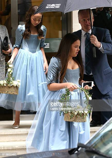 Rupert Murdoch's daughters Grace and Chloe are seen leaving Rupert Murdoch house before the wedding ceromony of Rupert Murdoch and Jerry Hall at St...