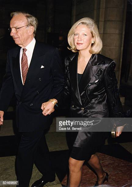 Rupert Murdock and wife Anna Murdoch out in London on August 24 1995