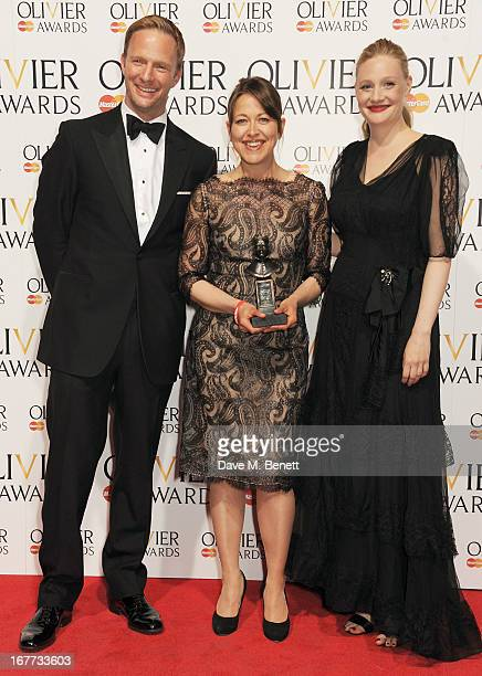 Rupert Penry Jones Nicola Walker winner of Best Actress in a Supporting Role and Romola Garai pose in the press room at The Laurence Olivier Awards...