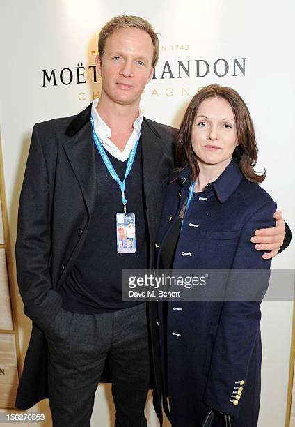 Rupert PenryJones and Dervla Kirwan attend the Moet Chandon VIP Suite during day eight of the ATP World Finals at the O2 Arena on November 12 2012 in...