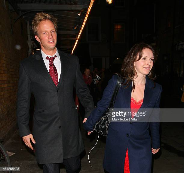 Rupert Penry-Jones and Dervla Kirwan leaving the Weir press night on January 21, 2014 in London, England.