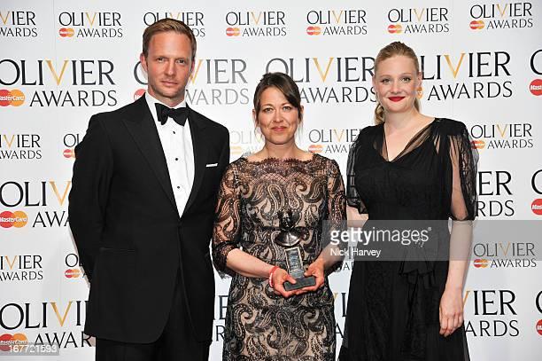 Rupert Penry-Jones, award winner Nicola Walker and Romola Garai attend The Laurence Olivier Awards at The Royal Opera House on April 28, 2013 in...