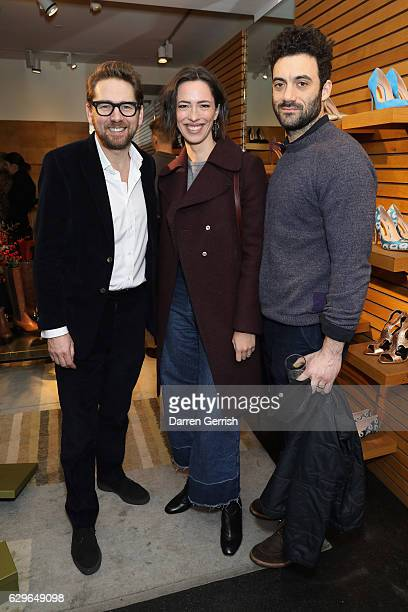 Rupert Sanderson Rebecca Hall and Morgan Spector attend the Rupert Sanderson festive Christmas Lunch at Bruton Place on December 14 2016 in London...