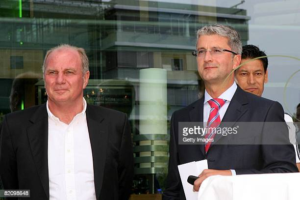 Rupert Stadler CEO of Audi Group car producer hands over the keys to Uli Hoeness manager of Bayern Muenchen during the presentation of Bayern...