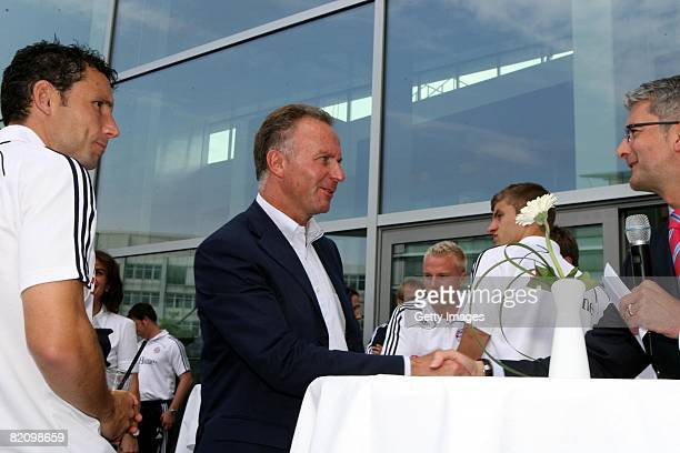 Rupert Stadler CEO of Audi Group car producer shake hands to KarlHeinz Rummenigge CEO of Bayern Muenchen during the presentation of Bayern Muenchen's...