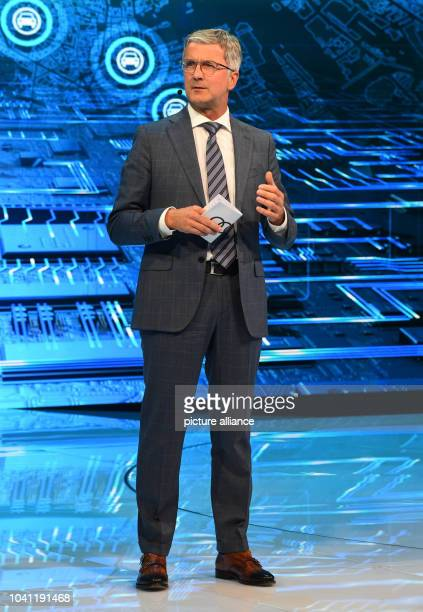Rupert Stadler, CEO of Audi, presents the new Audi Audi Q5 during speaking during the first press day at the Paris Motor Show in Paris, France, 29...