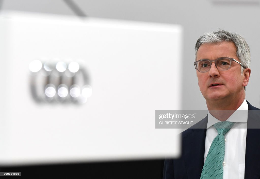 Rupert Stadler, CEO of German car maker Audi, waits prior to the Audi AG general meeting in Ingolstadt, southern Germany, on May 9, 2018.