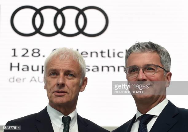 Rupert Stadler CEO of the German car maker Audi and Matthias Mueller chairman of the supervisory board of German car maker Audi and CEO of German car...