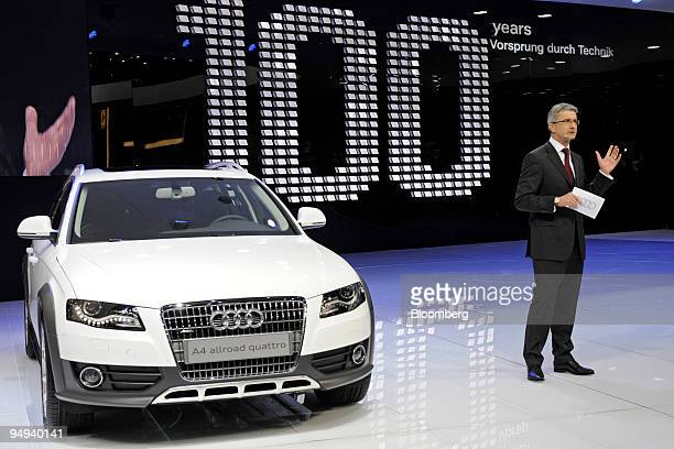 Rupert Stadler chairman and chief executive officer of Audi AG speaks during the presentation at the new Audi A4 allroad quattro prior to the opening...
