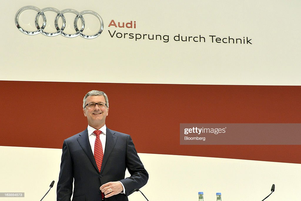 Rupert Stadler, chief executive officer of Audi AG, arrives for the company's earnings news conference at the Audi AG headquarters in Ingolstadt, Germany, on Tuesday, March 12, 2013. Audi AG, the world's second-biggest luxury carmaker, is aiming for a 'slight' increase in revenue this year and reaching an operating margin at the upper end of its long-term target corridor, helped by sales of compact SUVs and the new A3 sedan. Photographer: Guenter Schiffmann/Bloomberg via Getty Images