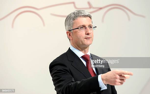 Rupert Stadler chief executive officer of Audi AG gestures during the presentation of the company's full year earnings at a press conference in...