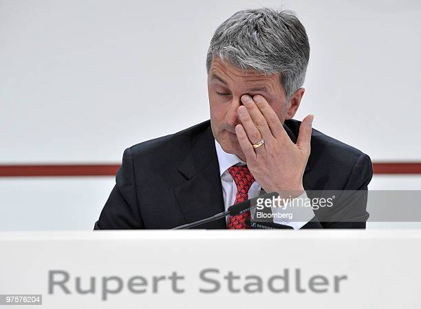 Rupert Stadler chief executive officer of Audi AG gestures during the company's full year earnings press conference in Ingolstadt Germany on Tuesday...