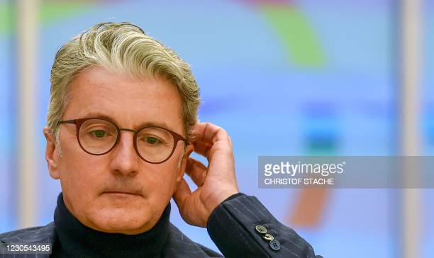 Rupert Stadler, former CEO of German car manufacturer Audi, looks on ahead of his trial day in a regional court room in Munich, southern Germany, on...