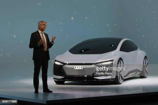 FRANKFURT FRANKFURT HESSE GERMANY Rupert Stadler the CEO of Audi presents the Audi concept car Aicon at the press conference German car manufacturer...
