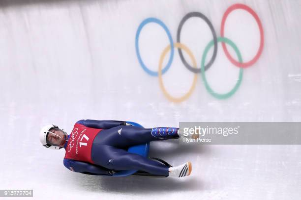 Rupert Staudinger of Great Britain trains during Luge Training ahead of the PyeongChang 2018 Winter Olympic Games at Olympic Sliding Centre on...