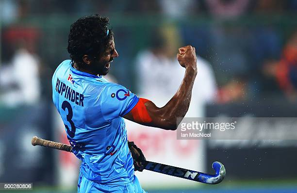Rupinder Pal Singh of India celebrates scoring during the match between Netherlands and India on day ten of The Hero Hockey League World Final at the...