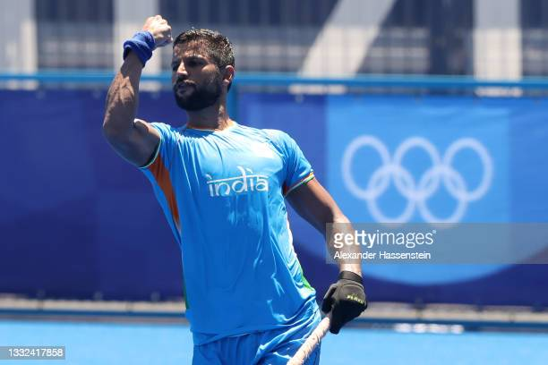 Rupinder Pal Singh of Team India celebrates scoring a penalty shot during the Men's Bronze medal match between Germany and India on day thirteen of...