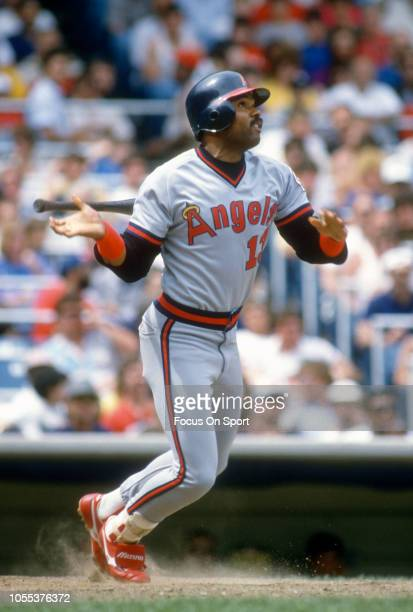 Ruppert Jones of the California Angels bats against the New York Yankees during an Major League Baseball game circa 1986 at Yankee Stadium in the...