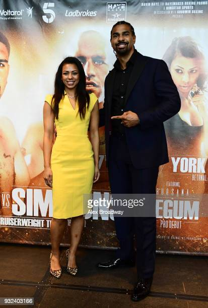 Ruqsana Begum and David Haye pose for a photograph during a press conference at Chino Latino Park Plaza Riverbank on March 15 2018 in London England...