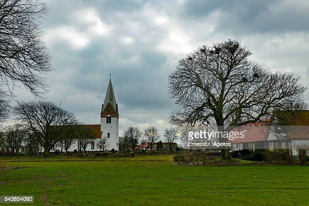 Rural church and houses, Skåne, Sweden