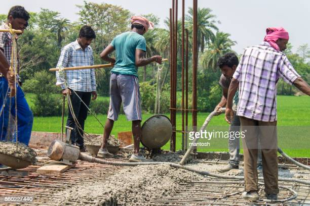 Rural construction workers on site