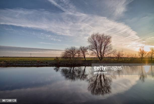 Rural evening landscape, Oldersum, Lower Saxony, Germany