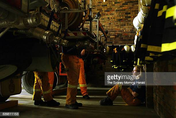 Rural Fire Service members from the Warringah / Pittwater district at Belrose RFS Station on 31 August 2004 Sitting against the wall is Dez White SMH...