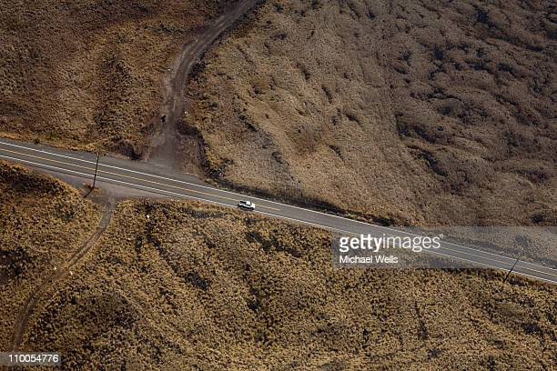 rural highway, aerial view - two lane highway stock pictures, royalty-free photos & images