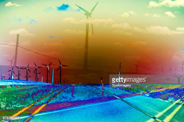 Rural highway and windmills, layered effect