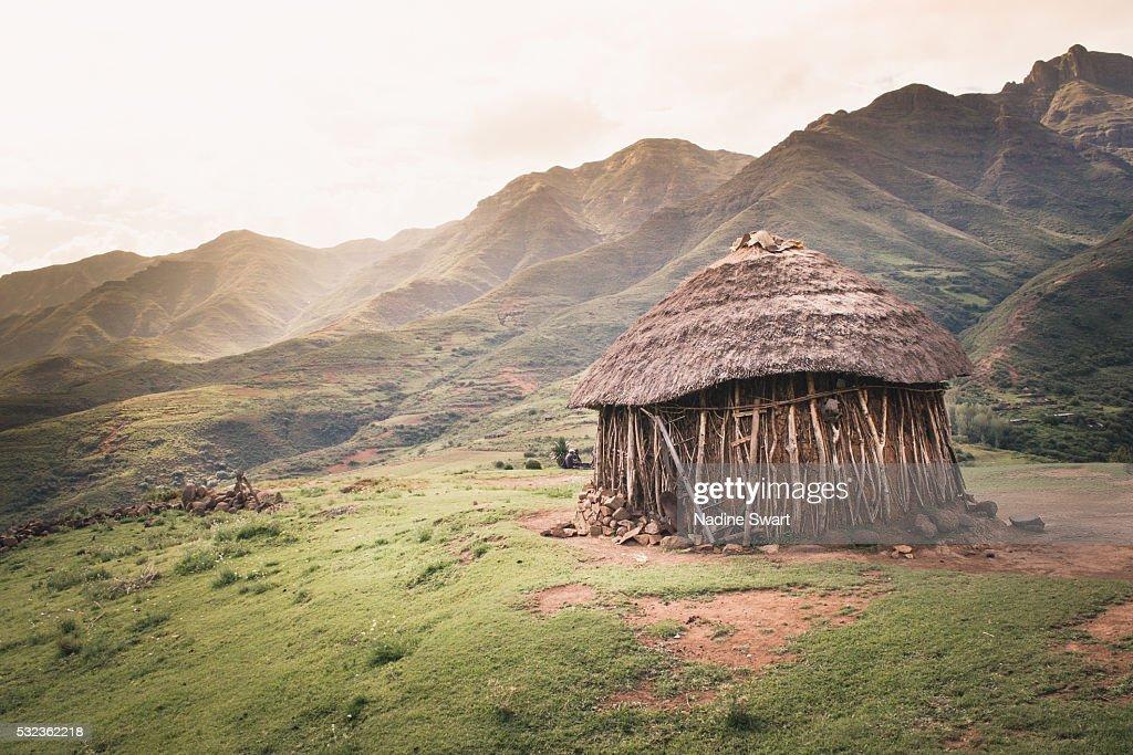 Rural hut in Lesotho : Stock Photo