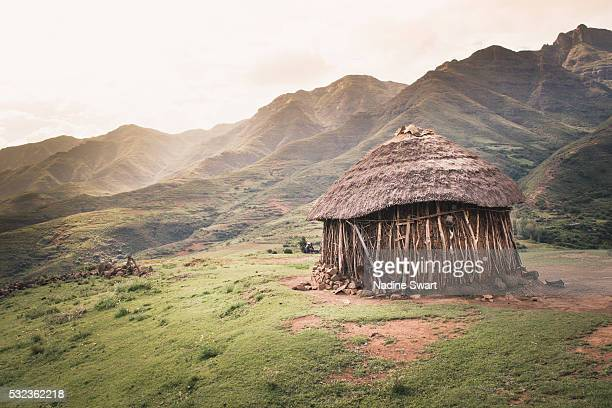 rural hut in lesotho - shack stock pictures, royalty-free photos & images
