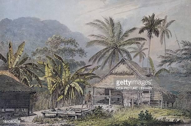 Rural hut on Krakatoa Island watercolour Sunda Islands 18th century