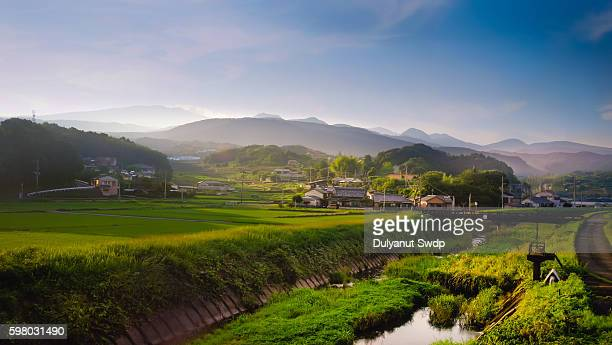 rural landscape at saga , japan - satoyama scenery stock pictures, royalty-free photos & images