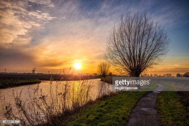 rural landscape at sunset, drimmelen, north brabant, netherlands - waterkant stockfoto's en -beelden