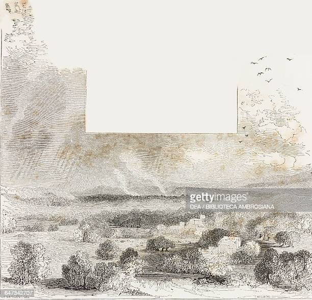 Rural landscape in Messenia engraving from Greece Pictorial Descriptive and Historical by Christopher Wordsworth