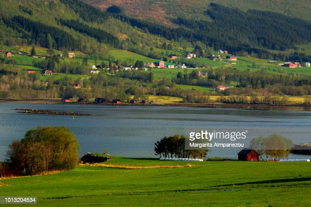 Rural landscape in Norway with red cabins, a lake and green area