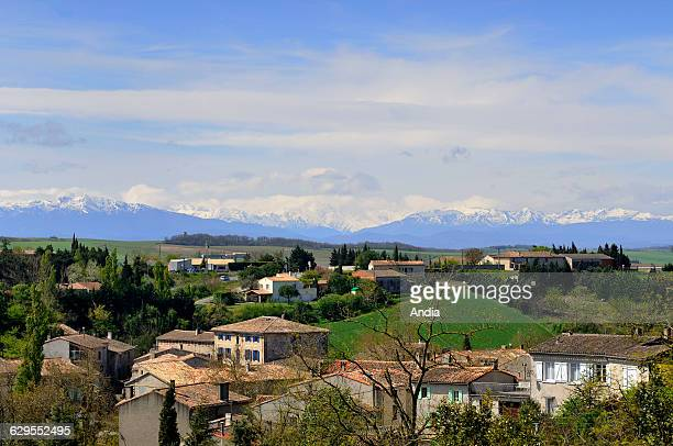 Rural landscape of the Aude department in the surrounding area of the village of Fanjeaux traditional houses from southwestern France and view of the...