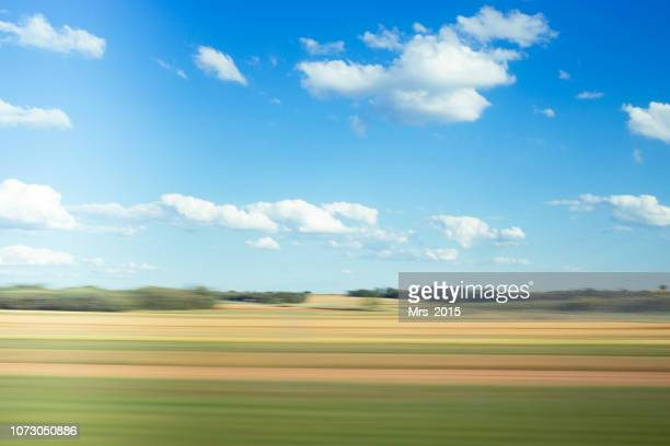 rural landscape seen from a moving train, spain - rushing the field stock pictures, royalty-free photos & images