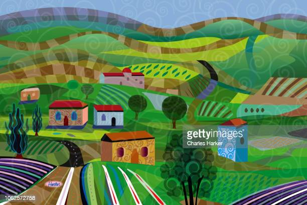 Rural Landscape with farm houses, barn, fields, farms with crop rows