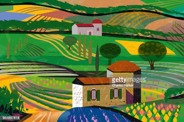 Rural Landscape with fields, farm house and barn illustration