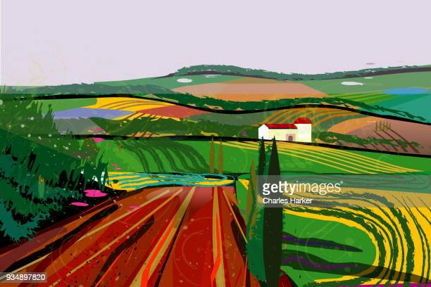 Rural Landscape with fields, farms and barn Illustration