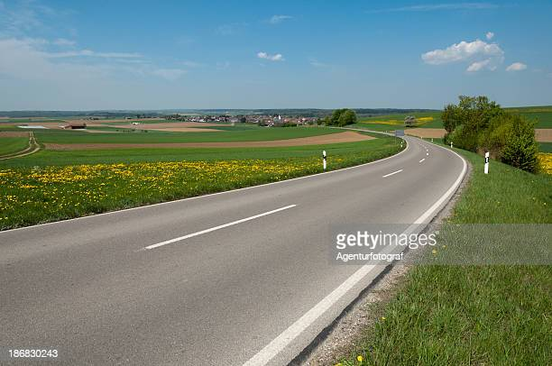 Rural landscape with two-lane road
