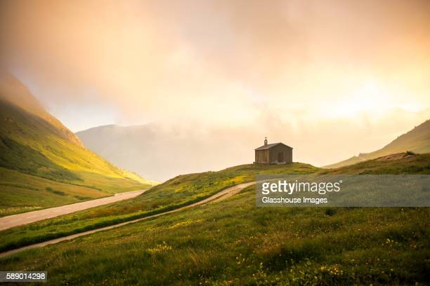 rural mountain church at sunrise - savoie stock pictures, royalty-free photos & images