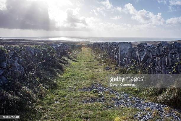Rural Path on Inishmore, Aran Islands, Ireland, leading to the Atlantic Ocean