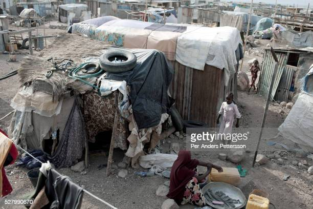 Rural people countryside in a shantytown on August 5 2011 out Djibouti Djibouti Many rural people from Djibouti and Somali has escaped the...